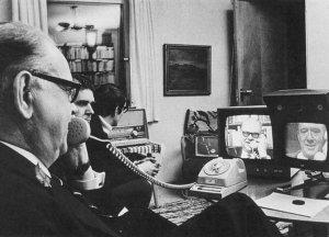 Swedish Prime Minister Tage Erlander 1960 at desk on phone